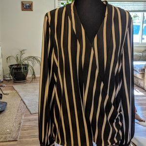 Adrianna Papell. Xl. Black n creme striped blouse
